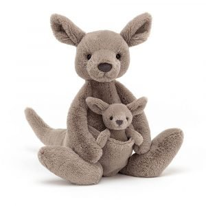 A gorgeous Jellycat Kara Kangaroo cuddly toy with her little joey in her pouch
