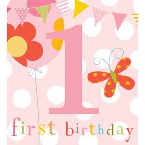 Pink first birthday card with flowers, butterflies, balloons and bunting