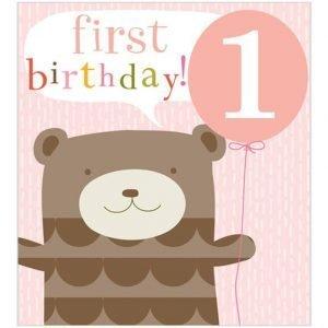 A cute bear holding a balloon first birthday card.