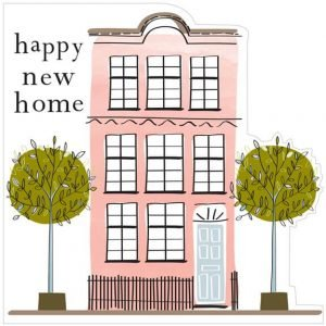A delicate but bold New Home card featuring a pink 3 storey house and 2 trees and the message happy new home. The card is blank inside.