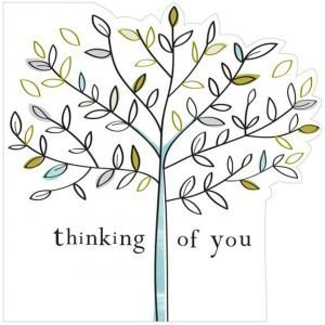A beautiful, delicate thinking of you card. Featuring a tree and laser cut edges to the card to profile the tree