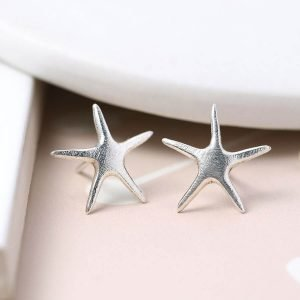 Brushed sterling silver starfish stud earrings