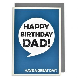 A bold birthday card for DAD. Made with recycled card. A blue background with a white speach bubble with Happy Birthday Dad!