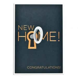 A beautifully embossed and foiled card with New Home and the o of home is a key hole with a key in it.