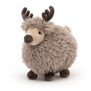 A cuddly round reindeer cuddly toy from Jellycat. He's round and fluffy with velvetty antlers.