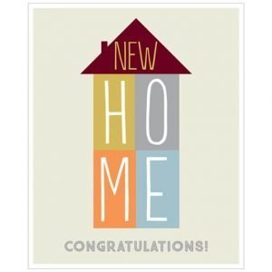 A stylish and simple new home card picturing a tall house with new on the roof and H O M E in the 4 quarters of the house. Each quarter is a different colour foil.