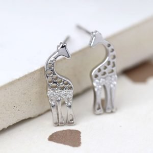 Silver giraffe stud earrings set with clear crystal stones