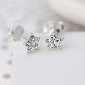 Sterling silver star stud earrings inset with clear crystals