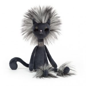 A black elegant cuddly cat from Jellycat. With a long neck fluffy fur and feet, a long black tail and wearing a silver sparkly chocker. Swellegant Kitty Cat is perfect.