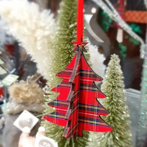 Tartan Wooden 3D Tree Decoration