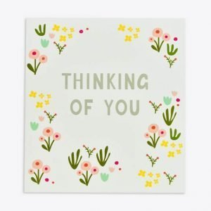 A lovely thinking of you card with pretty stylised flowers embossed onto a white card.