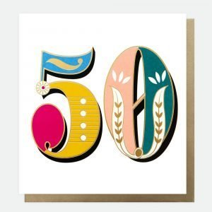 Bright carnival 50 card from Caroline Gardner with 50 in bright carnival design on a white background