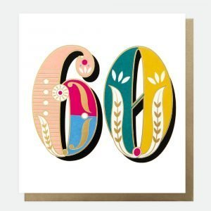 Bright carnival 60 card from Caroline Gardner with 60 in bright carnival design on a white background