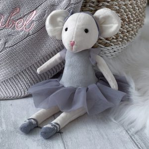 A sweet little ballerina cuddly toy mouse with a grey coloured tutu
