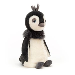 A sweet black and white penguin with fluffy collar and sparkly crown.
