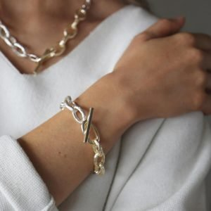 Tutti & Co gold and silver two tone chunky t bar bracelet with a mix of gold and silver links