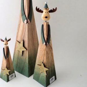 Contemporary design wooden reindeer with green details and a gold glitter star