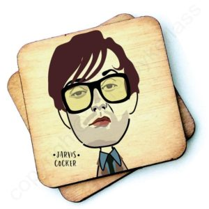 A wooden rustic coaster from Wotmalike with a characterised image of Jarvis Cocker.