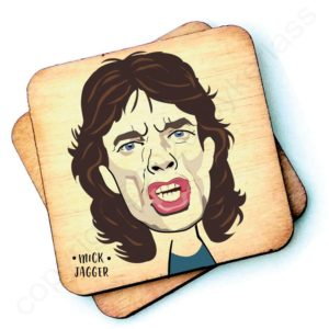 A wooden rustic coaster from Wotmalike with a characterised imahe of Mick Jagger.