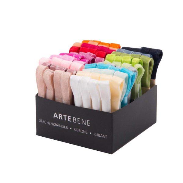 A box full of colourful 2m long chiffon ribbons