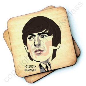 A wooden rustic coaster from Wotmalike with a characterised image of George Harrison