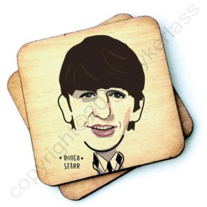 A wooden rustic coaster from Wotmalike with a characterised image of Ringo Starr