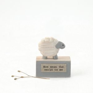 A cute little wooden keepsake of a sheep on a little platform with the words 'Ewe mean the world to me' printed on it.