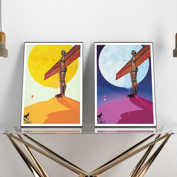 A gorgeous pair of prints of the Angel of the North at day and at night time with a giant sun or moon behind it.