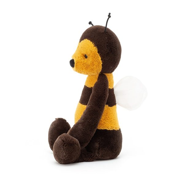 A side view of the Jellycat cuddly toy Bashful bee
