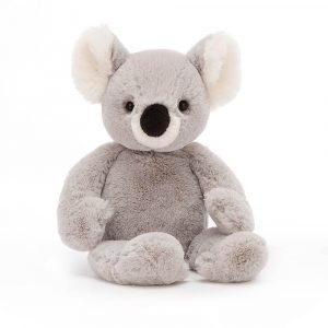 A gorgeous grey and white koala bear soft toy with a cute black nose and squidgy tummy. Suitable from birth