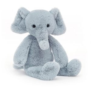 A teal blue elephant soft toy from Jellycat
