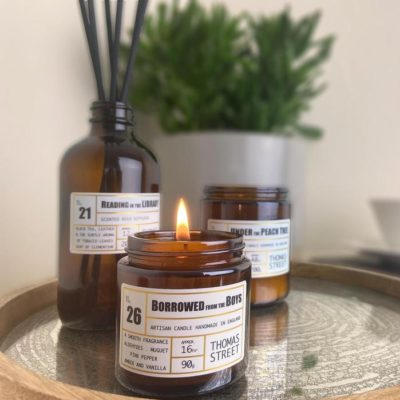 Read more about Borrowed From the Boys Apothecary Travel Candle