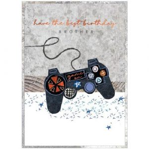 A brother birthday card with a gaming controller design and the words have the best birthday brother