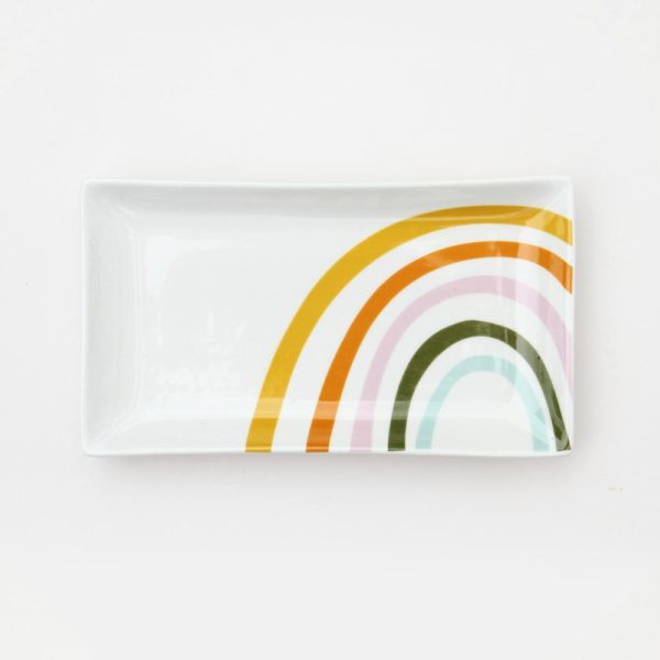 A gorgeous bone china trinket dish with a colourful rainbow design from British designer Caroline Gardner