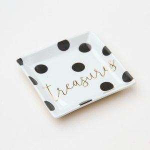 A lovely spotty trinket tray from British designer Caroline Gardner, made from bone china.