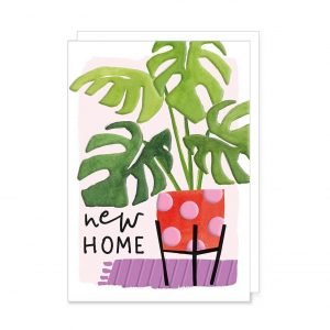 A colourful new home card with a huge rubber plant in a red and pink plant pot
