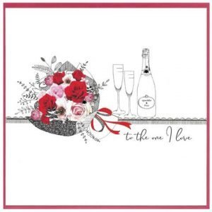 Beautiful hand drawn flower bouquet and champagne bottle and glasses with added photographic elements of red roses in the bouquet. hand finished with gem stones and the hand written style words to the one I love