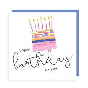 A lovely birthday card with zesty colours and embossed details. A colourful birthday cake and candles and the words happy birthday to you