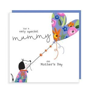To a very special Mummy on Mother's Day card with a cute dog holding a heart shaped balloon. In strong vibrant colours