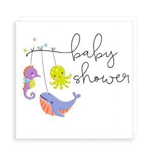 A baby shower card in strong vibrant colours with embossing. With cute whale, octopus and seahorse and the words Baby Shower