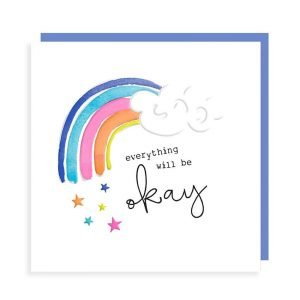 A card in strong vibrant colours with embossing. With a rainbow and stars and the words everything will be ok