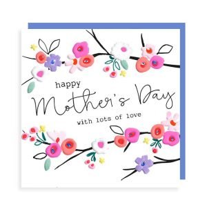 A Mother's Day card with colourful flowers and the words Happy Mother's Day with lots of love