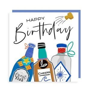 A colourful birthday card for a man with three bottles and the words Happy Birthday