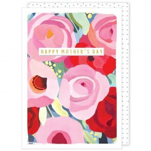 A Mother's Day card in strong vibrant colours and the words Happy Mother's Day