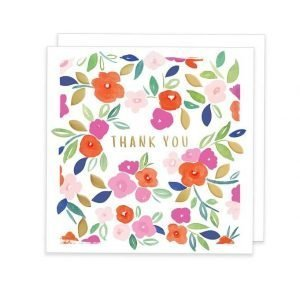 A colourful Thank You card with little pink and red flowers with embossed and gold foil details