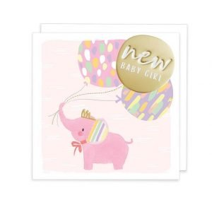 A new baby girl card with a cute pink elephant holding balloons