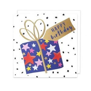 A lovely birthday card with a big blue present wrapped in starry paper with a gold bow and tag.
