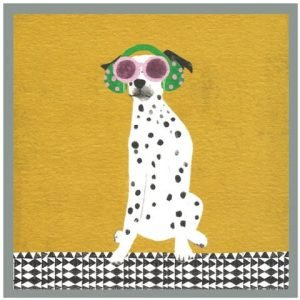 A card with no words and an illustration of a dalmatian dog in groovy glasses and earphones on a mustard background