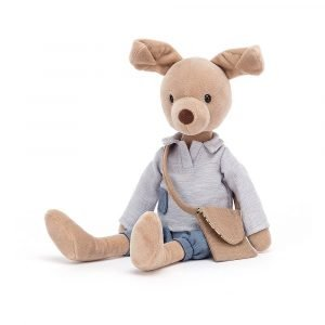 A little beige puppy wearing a grey tunic top and sweet denim bloomers. Inside that neat little messenger bag is a tiny puppy portrait!