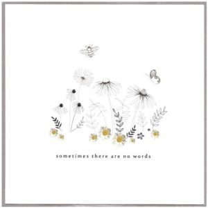 Beautiful hand drawn illustrations of flowers, bees and butterflies adorned with photographic images of daisies. Hand finished with silver foil and sparkly gems.